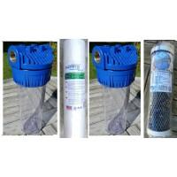 2 filterhuse 10''x 2.5'' - 3/4'' messinggevind: 2 skum sediment- og 1 kulblokfilter