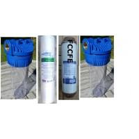2 filterhuse 10''x 2.5''- 3/4''messinggevind: 2skum sedimentfiltreog 1 okkerfilter