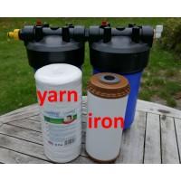 2 filterhuse BB10, 10''x 4.5'' - 1'' messinggevind, 1 sedimentfilter og 1 okkerfilter