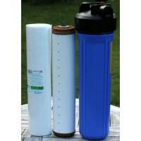 2 filterhuse 20'' x 4.5'' - 1'' messinggevind, 1 sediment- og 1 okkerfilter