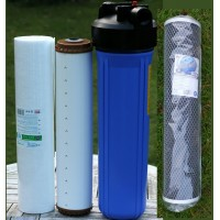 3 filterhuse 20'' x 4.5'' med 1'' messing gevind, sedimentfilter, kulblokfilterog okkerfilter