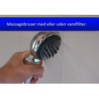 Massagebruser/filter, 3 trin, krom (V)